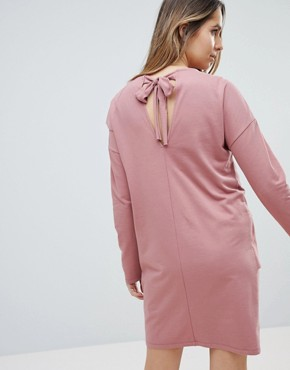 photo Sweat Dress with Ruffle Front by ASOS Maternity, color Dusky Pink - Image 2
