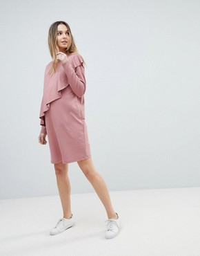 photo Sweat Dress with Ruffle Front by ASOS Maternity, color Dusky Pink - Image 1