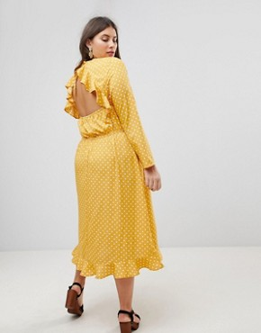 photo Polka Dot Midi Dress by Influence Plus, color Yellow Polka - Image 2