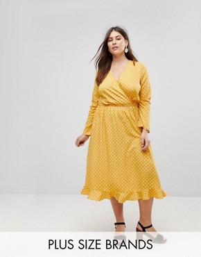 photo Polka Dot Midi Dress by Influence Plus, color Yellow Polka - Image 1