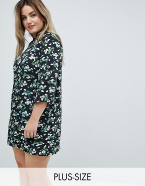 photo Shift Dress with Mandarin Collar Detail in Daisy Garden Floral by Influence Plus, color Black Floral - Image 1