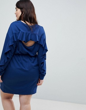 photo Sweat Dress with Frill and Open Back by ASOS CURVE, color Navy - Image 2