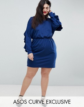photo Sweat Dress with Frill and Open Back by ASOS CURVE, color Navy - Image 1