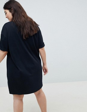 photo T-Shirt Dress with Rolled Sleeves by ASOS CURVE ULTIMATE, color Black - Image 2