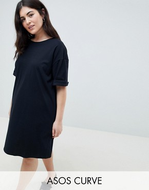 photo T-Shirt Dress with Rolled Sleeves by ASOS CURVE ULTIMATE, color Black - Image 1
