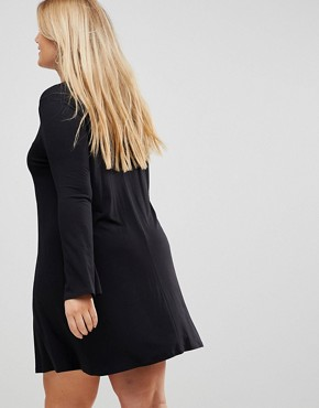 photo Mini Swing Dress with Seam Detail and Trumpet Sleeve by ASOS CURVE, color Black - Image 2