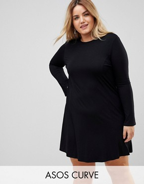 photo Mini Swing Dress with Seam Detail and Trumpet Sleeve by ASOS CURVE, color Black - Image 1