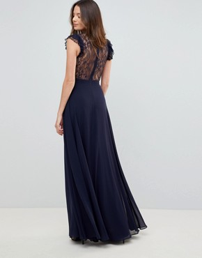 photo Lace Maxi Dress with Lace Frill Sleeve by ASOS TALL, color Navy - Image 2