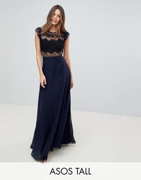 photo Lace Maxi Dress with Lace Frill Sleeve by ASOS TALL, color Navy - Image 1