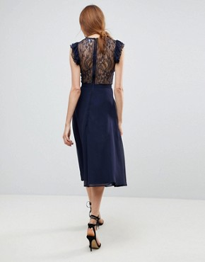 photo Lace Midi Dress with Lace Frill Sleeve by ASOS TALL, color Navy - Image 2