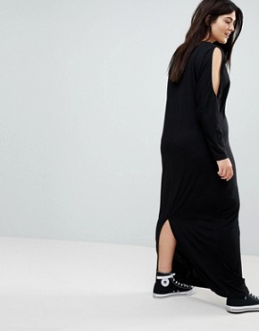 photo Maxi Harem Dress with Cold Shoulder and Long Sleeves by ASOS CURVE, color Black - Image 2