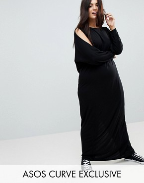 photo Maxi Harem Dress with Cold Shoulder and Long Sleeves by ASOS CURVE, color Black - Image 1