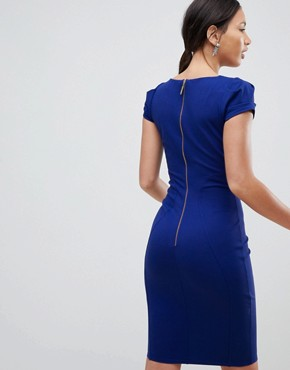 photo Pencil Dress with Ruched Cap Sleeve in Blue by Closet London, color Cobalt - Image 2