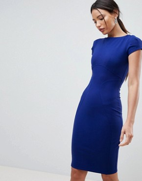 photo Pencil Dress with Ruched Cap Sleeve in Blue by Closet London, color Cobalt - Image 1