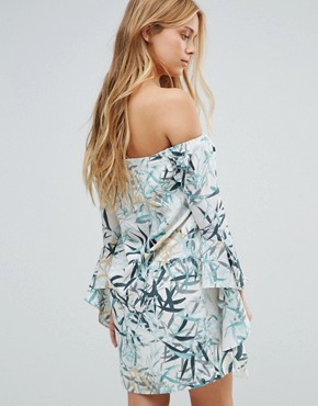 photo Fern Print Waterfall Bardot Dress by Neon Rose, color Multi - Image 2
