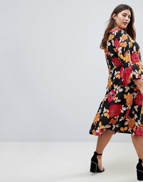 photo Column Midi Dress in Floral Print by ASOS CURVE, color Multi - Image 2