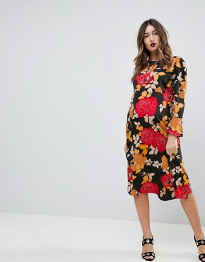 photo Column Midi Dress in Floral Print by ASOS Maternity, color Multi - Image 1