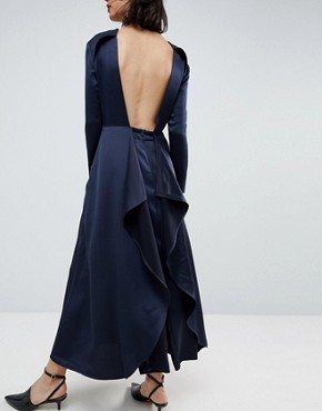 photo Satin Jumpsuit Dress by ASOS WHITE, color Navy - Image 2