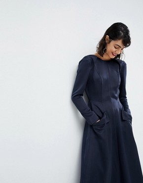 photo Satin Jumpsuit Dress by ASOS WHITE, color Navy - Image 1