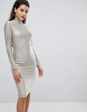photo High Neck Metallic Midi Dress by Flounce London, color Silver - Image 1