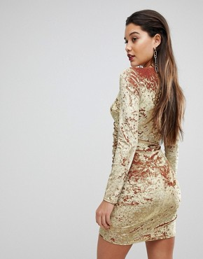 photo Wrap Ruched Mini Dress in Electric Velvet by Flounce London, color Gold - Image 2