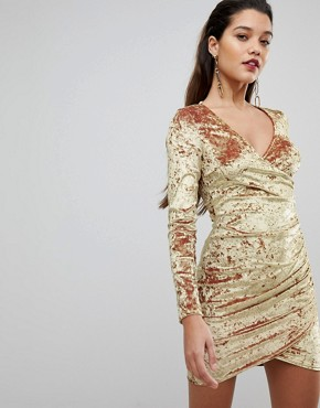 photo Wrap Ruched Mini Dress in Electric Velvet by Flounce London, color Gold - Image 1