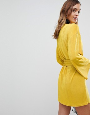photo Kimono Sleeve Mini Dress with Self Tie Fringe Belt by ASOS, color Ochre - Image 2