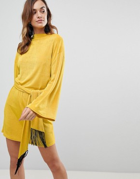 photo Kimono Sleeve Mini Dress with Self Tie Fringe Belt by ASOS, color Ochre - Image 1