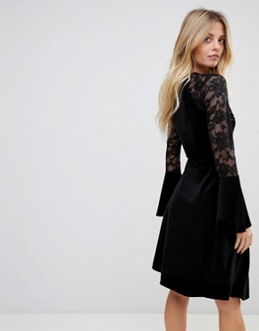 photo Velvet Wrap Dress with Fluted Lace Sleeves and Asymmetric Hem by ASOS, color Black - Image 2