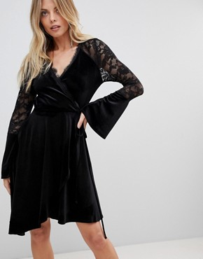 photo Velvet Wrap Dress with Fluted Lace Sleeves and Asymmetric Hem by ASOS, color Black - Image 1