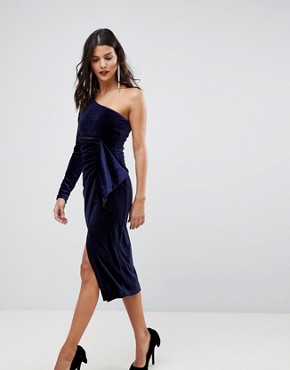 photo One Shoulder Midi Dress with Twist Detail in Velvet by Lavish Alice, color Berry - Image 1
