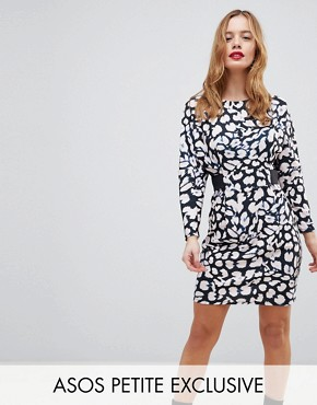 photo Mini Dress with Elastic Waist Detail in Leopard Print by ASOS PETITE, color Multi - Image 1