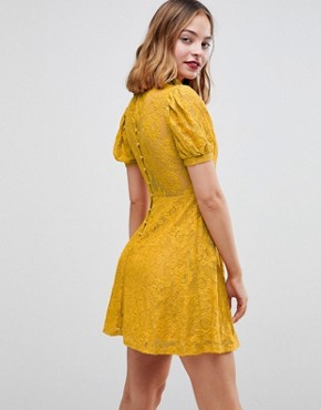 photo Mini Lace Dress with Puff Sleeve by ASOS PETITE, color Mustard - Image 2