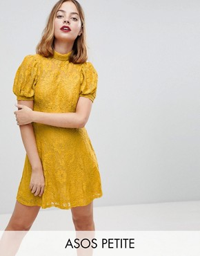 photo Mini Lace Dress with Puff Sleeve by ASOS PETITE, color Mustard - Image 1