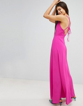 photo Open Back Halter Maxi Dress by ASOS, color Magenta - Image 2
