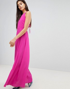 photo Open Back Halter Maxi Dress by ASOS, color Magenta - Image 1