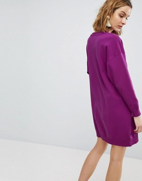 photo Knitted Mini Dress in Structured Yarn by ASOS, color Purple - Image 2
