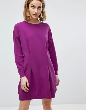 photo Knitted Mini Dress in Structured Yarn by ASOS, color Purple - Image 1