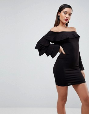 photo Bardot Extreme Ruffle Sleeve Bodycon Mini Dress by ASOS, color Black - Image 1