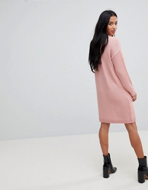 photo Chunky Knitted Dress with Wrap Detail by ASOS PETITE, color Blush - Image 2