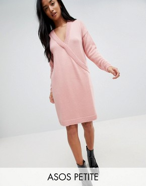 photo Chunky Knitted Dress with Wrap Detail by ASOS PETITE, color Blush - Image 1