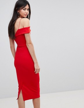 photo Scuba Strappy Bardot Pencil Midi Dress by ASOS TALL, color Red - Image 2
