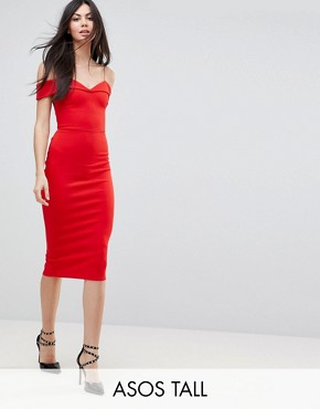 photo Scuba Strappy Bardot Pencil Midi Dress by ASOS TALL, color Red - Image 1
