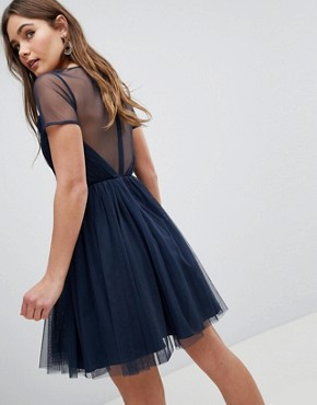 photo Tulle Mini Dress with Sheer Sleeve by ASOS, color Navy - Image 2