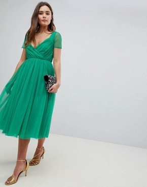 photo Tulle Midi Dress with Sheer Sleeve by ASOS, color Green - Image 1