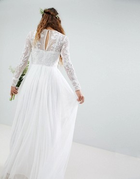 photo Embroidered Bodice Wedding Maxi Dress by ASOS EDITION, color White - Image 2
