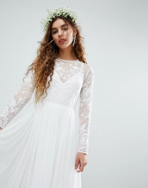 photo Embroidered Bodice Wedding Maxi Dress by ASOS EDITION, color White - Image 1