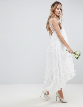 photo 3D Flower Midi Trapeze Wedding Dress by ASOS EDITION, color White - Image 2