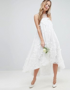 photo 3D Flower Midi Trapeze Wedding Dress by ASOS EDITION, color White - Image 1