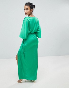 photo Kimono Twist Front Maxi Dress by ASOS, color Bright Green - Image 2